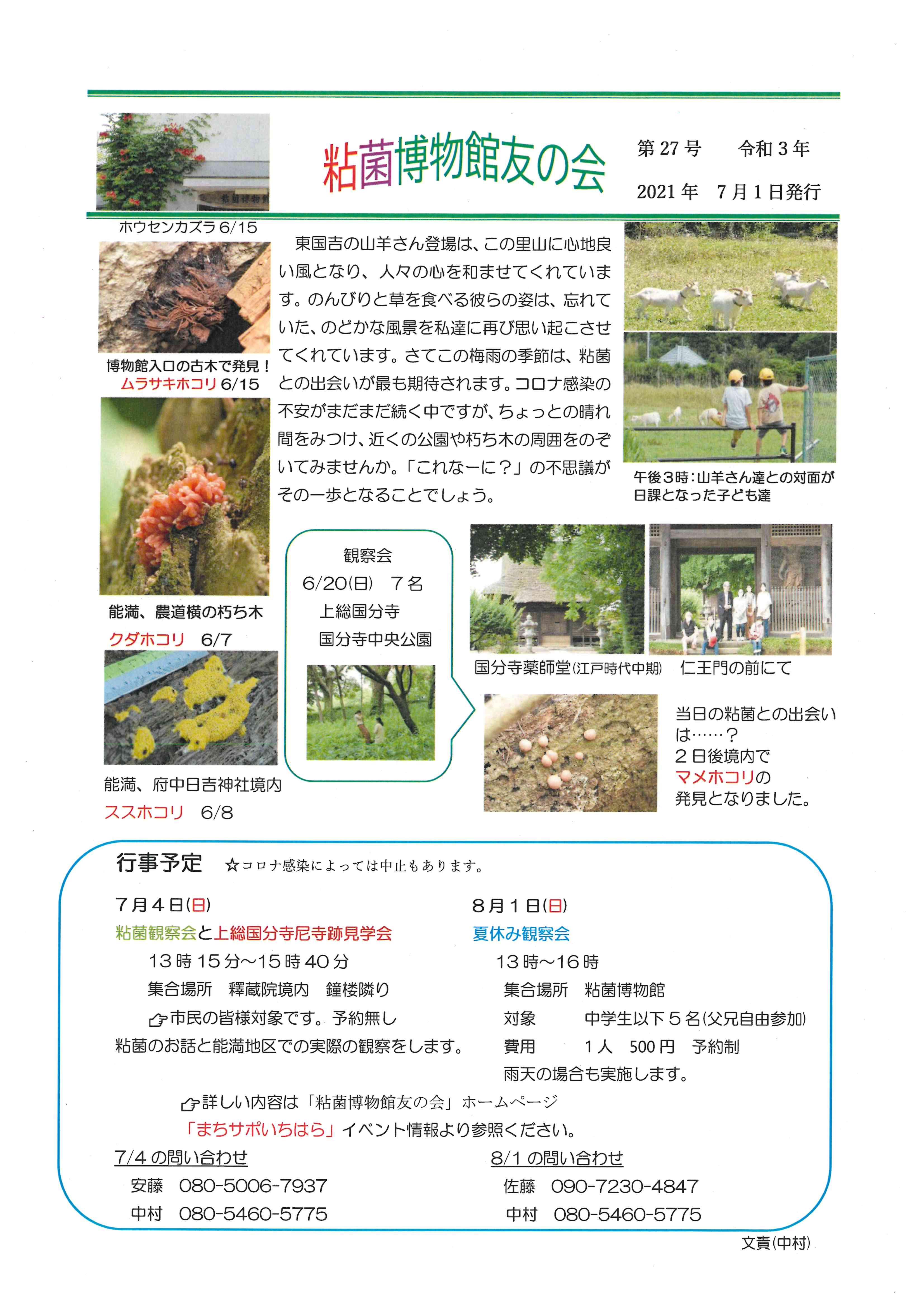 粘菌博物館友の会 会報第27号