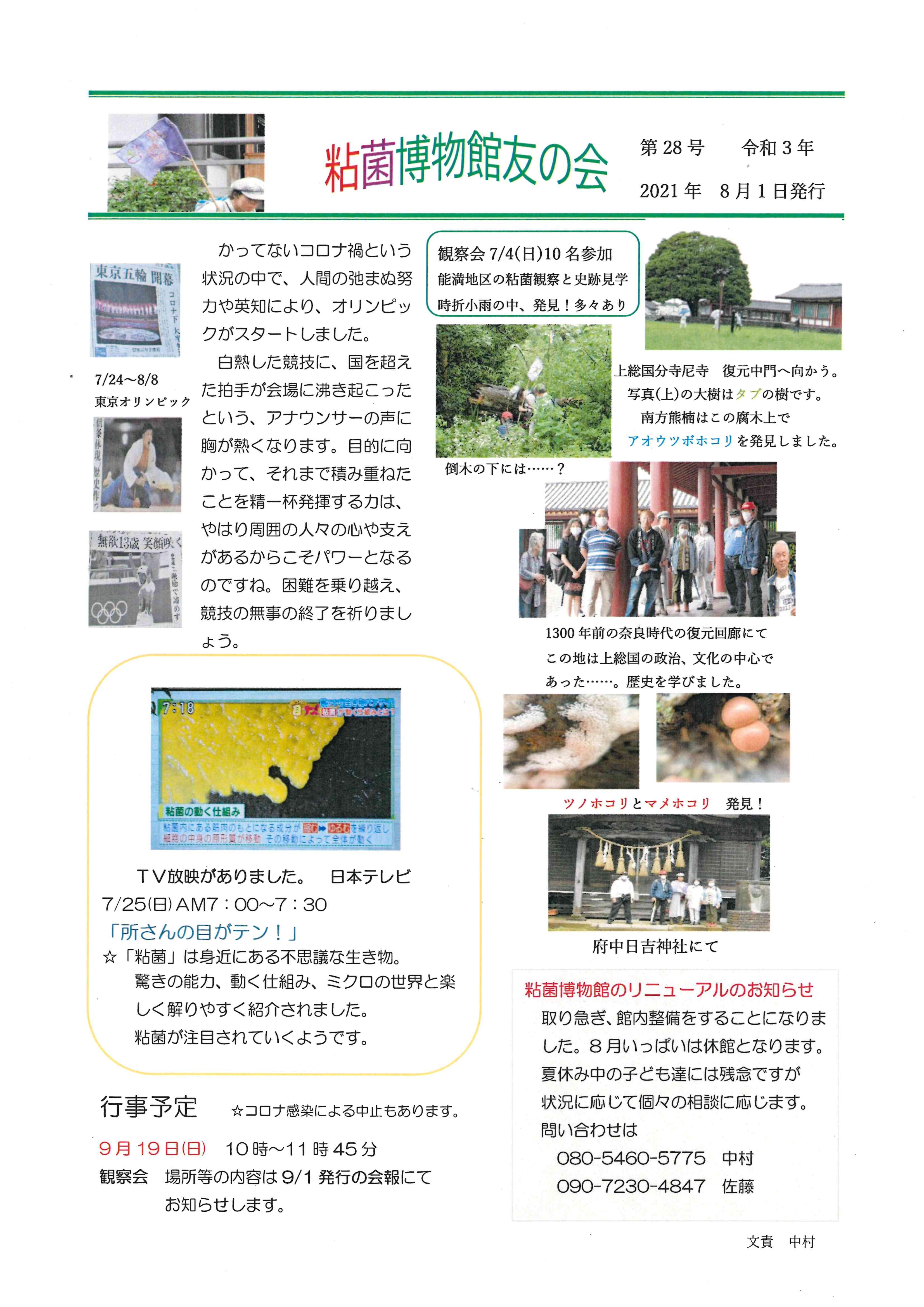 粘菌博物館友の会 会報第28号